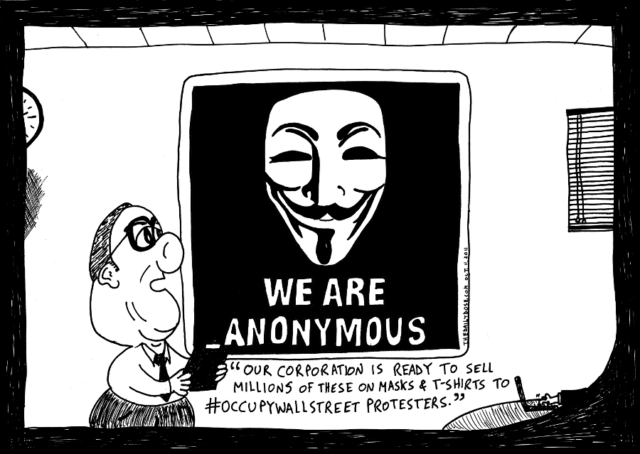 anonymous business cartoon occupywallstreet comic strip caricature by laughzilla for the daily dose
