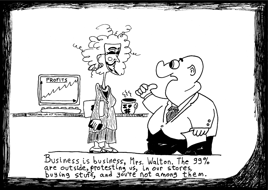 99% political business cartoon occupywallstreet comic strip caricature by laughzilla for the daily dose