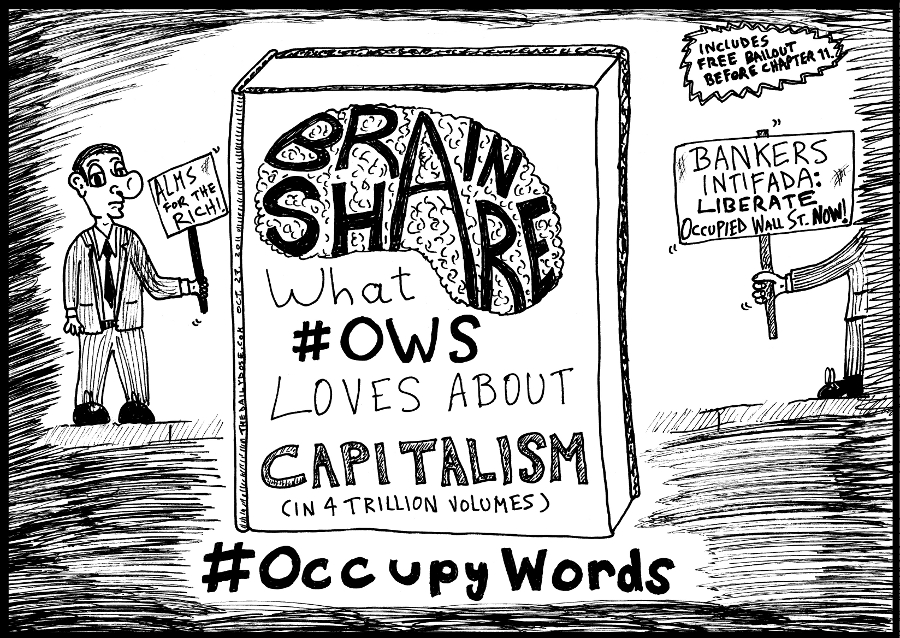 Book You Never Read > Brain Share > What #OWS loves about Capitalism title cover cartoon comic strip caricature by laughzilla for the daily dose