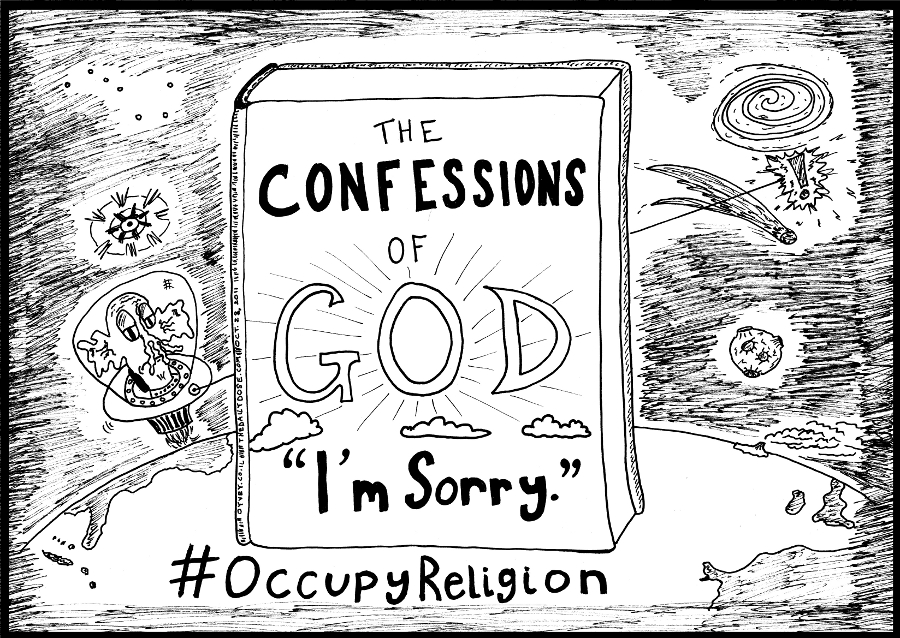 Book You Never Read > The Confessions of God > I'm Sorry > title cover cartoon #OccupyReligion comic strip caricature by laughzilla for the daily dose