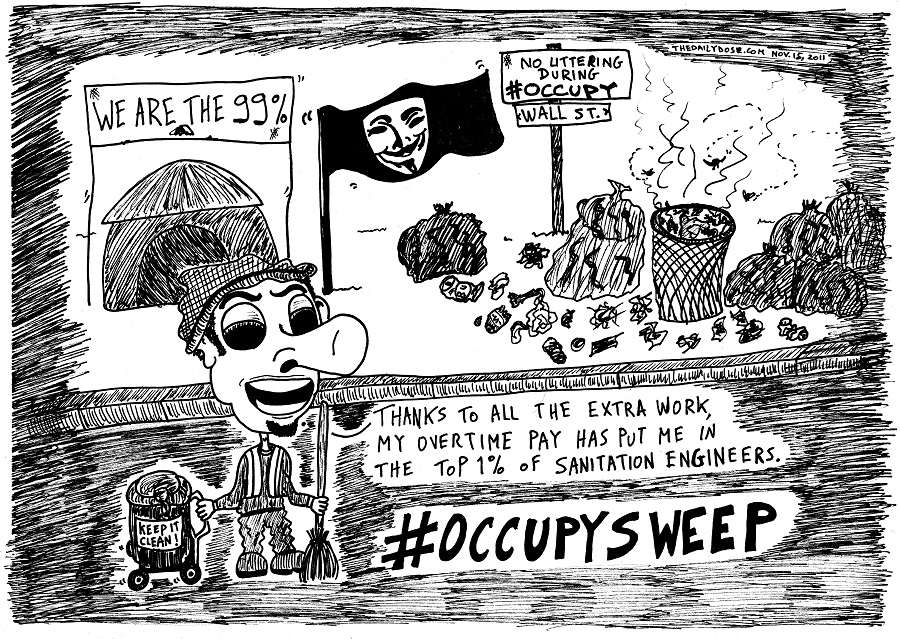 #occupywallstreet occupy sweep editorial cartoon by laughzilla for thedailydose.com