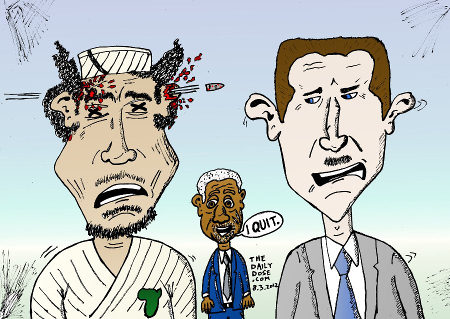 Gadaffy Assad Annan Caricature
