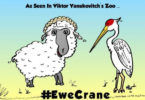 ukraine ewe crane political cartoon by laughzilla from 2014 feb 25