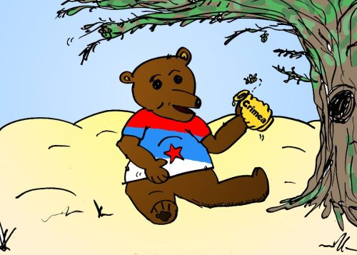 russian bear absorbing crimean honeypot cartoon by laughzilla for the daily dose 03 18 2014