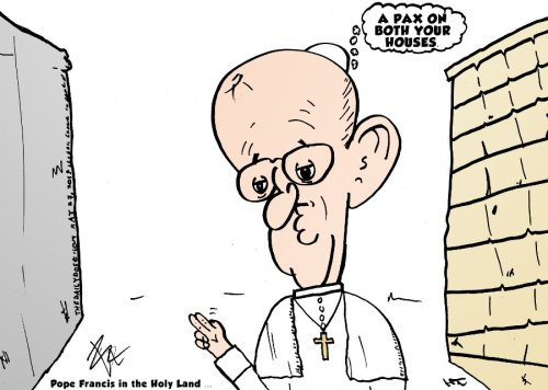 pope francis prays for pax on palestinian and israeli houses comic by laughzilla for the daily dose