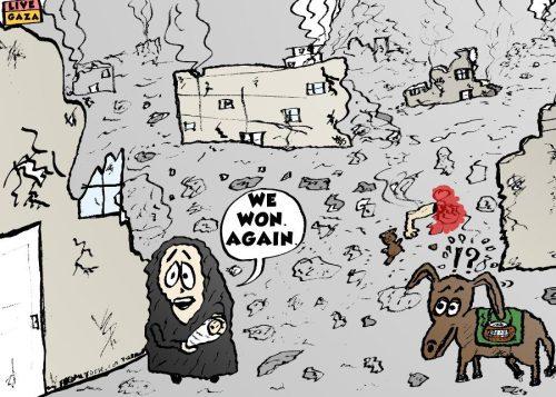 hamas wins again political cartoon by laughzilla 2014-07-27