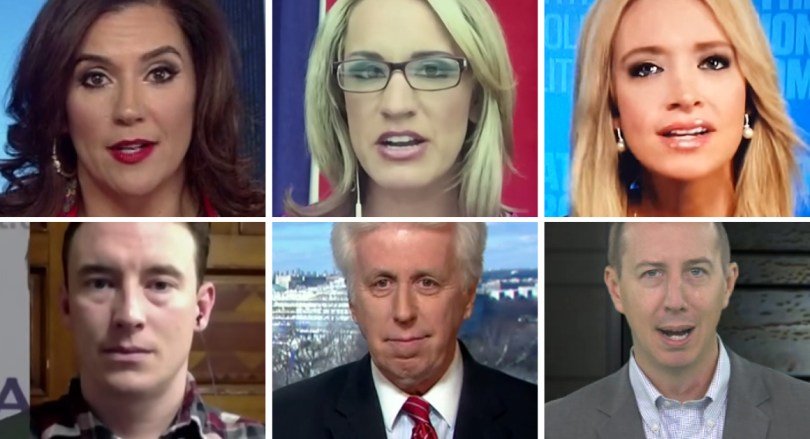 Top row, from left: adriana cohen, Scottie Nell Hughes, Kayleigh Mecenany Bottom row, from left: carl higbie, jeffrey lord, john phillips spelling not CQ Screenshots