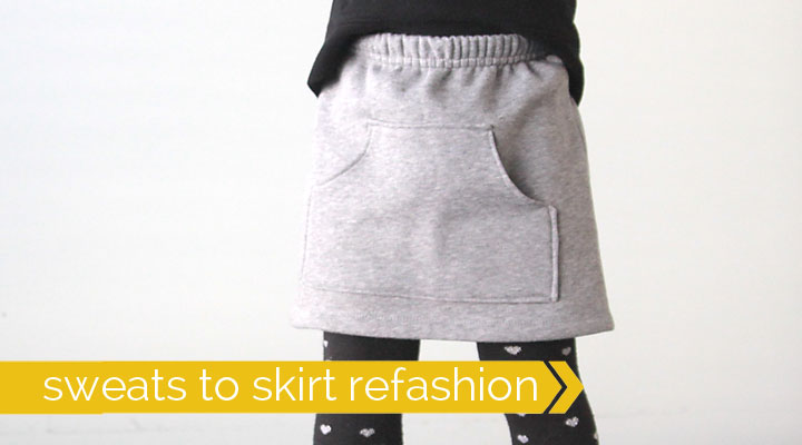 Turn sweat pants into a cute skirt. Easy sewing tutorial.