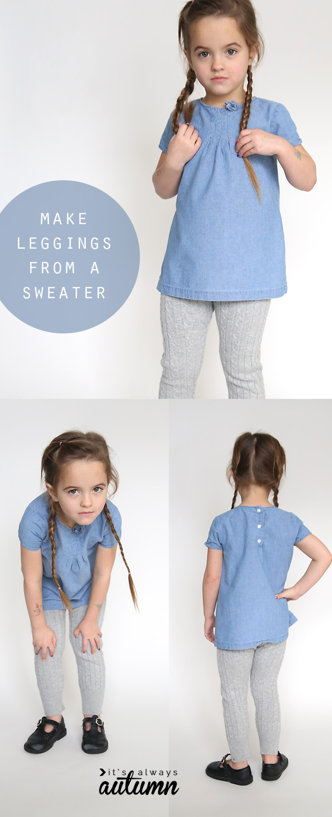 So cute! She cut up and old sweater and turned it into cozy leggings for her little girl! Easy sewing tutorial.