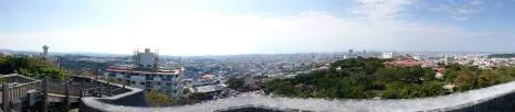 The panorama is taken from the observatory platfom of Kyounouchi and offers a view over all of Naha.