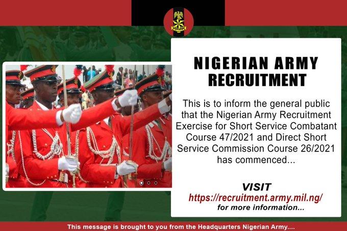 2020 Recruitment: Nigerian Army Opens Portal For Registration 1