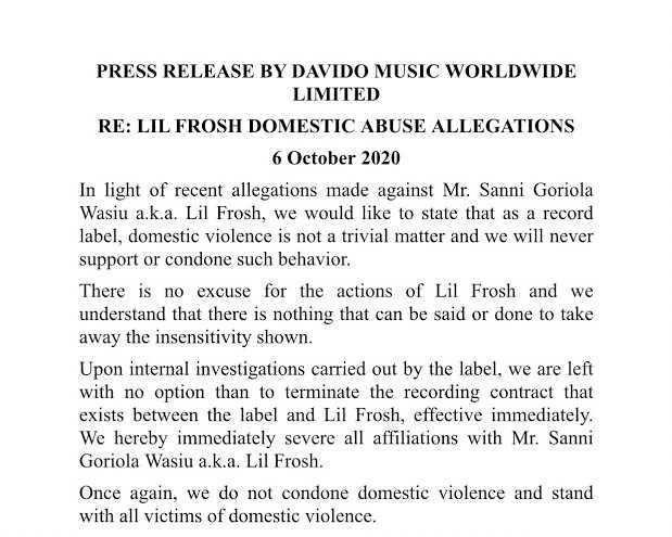 BREAKING: Davido terminates Lil Frosh's contract 1
