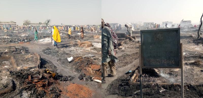 Fire destroys IDP camps in Borno 3