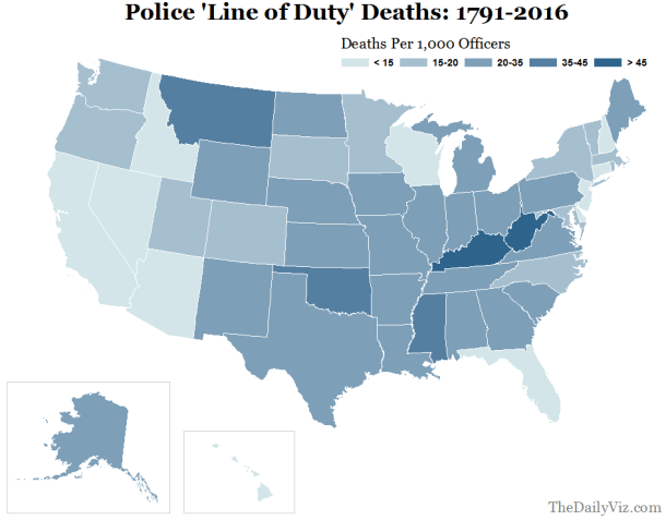 Police killings per 1,000 officers: 1791-2016. Data source: Officer Down Memorial Page. Map by Matt Stiles/The Daily Viz.