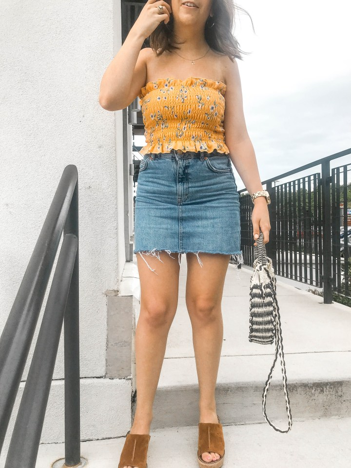 Summer Staples- Smocked Tops and Denim Minis 7