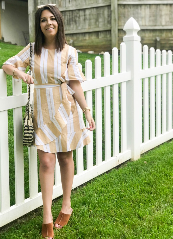 striped wrap dress + my favorite new shoes 10