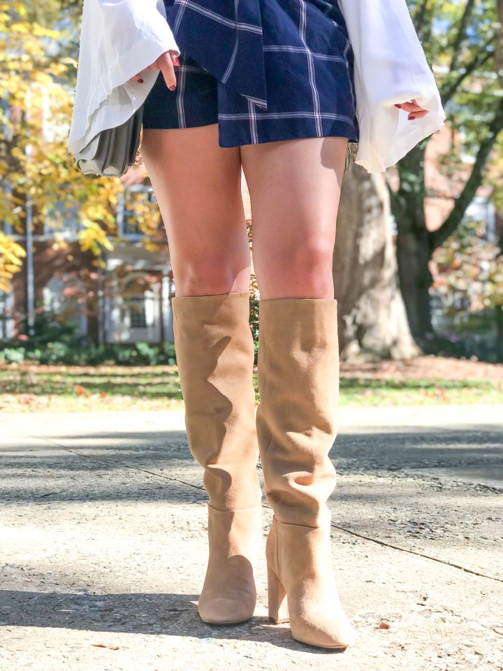 plaid skirt + knee high boots 1