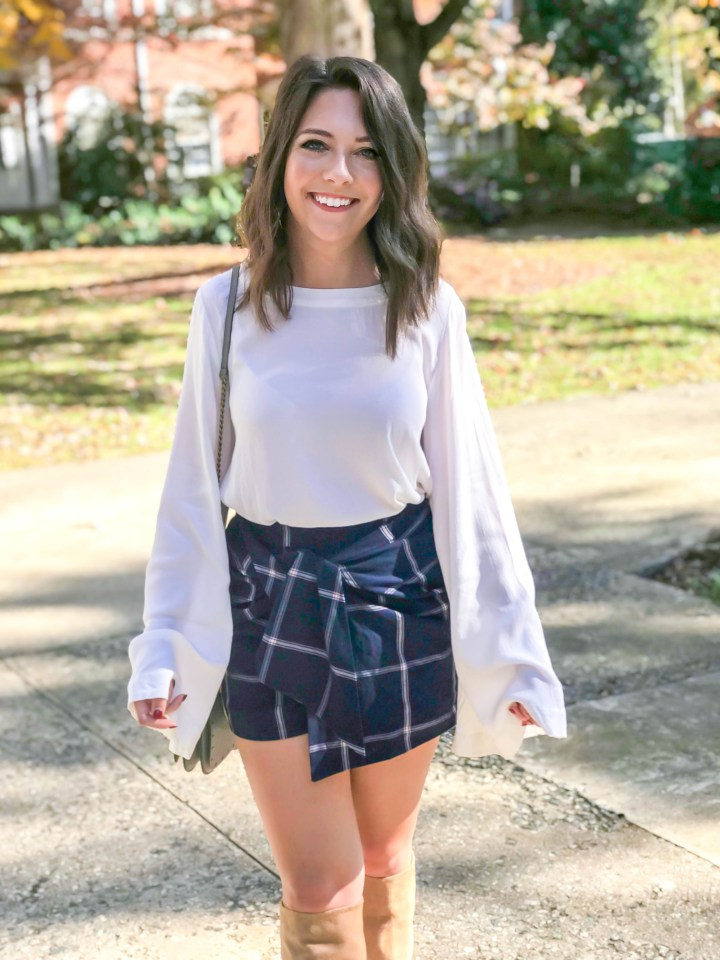 plaid skirt + knee high boots 3