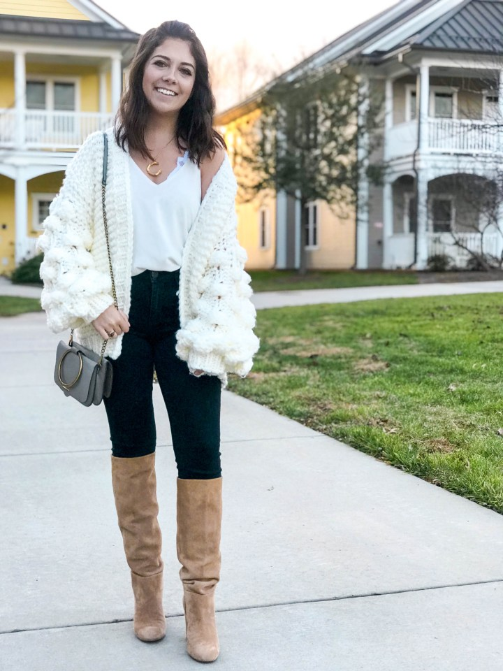knit sweater and black jeans 1