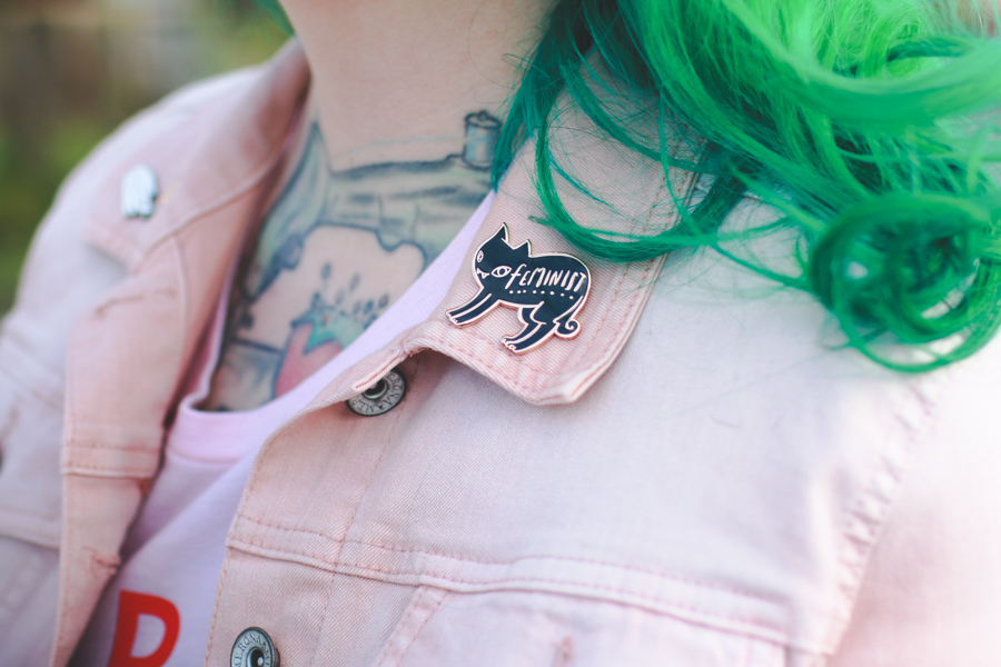 pin game, lapel pin, denim jacket, green hair