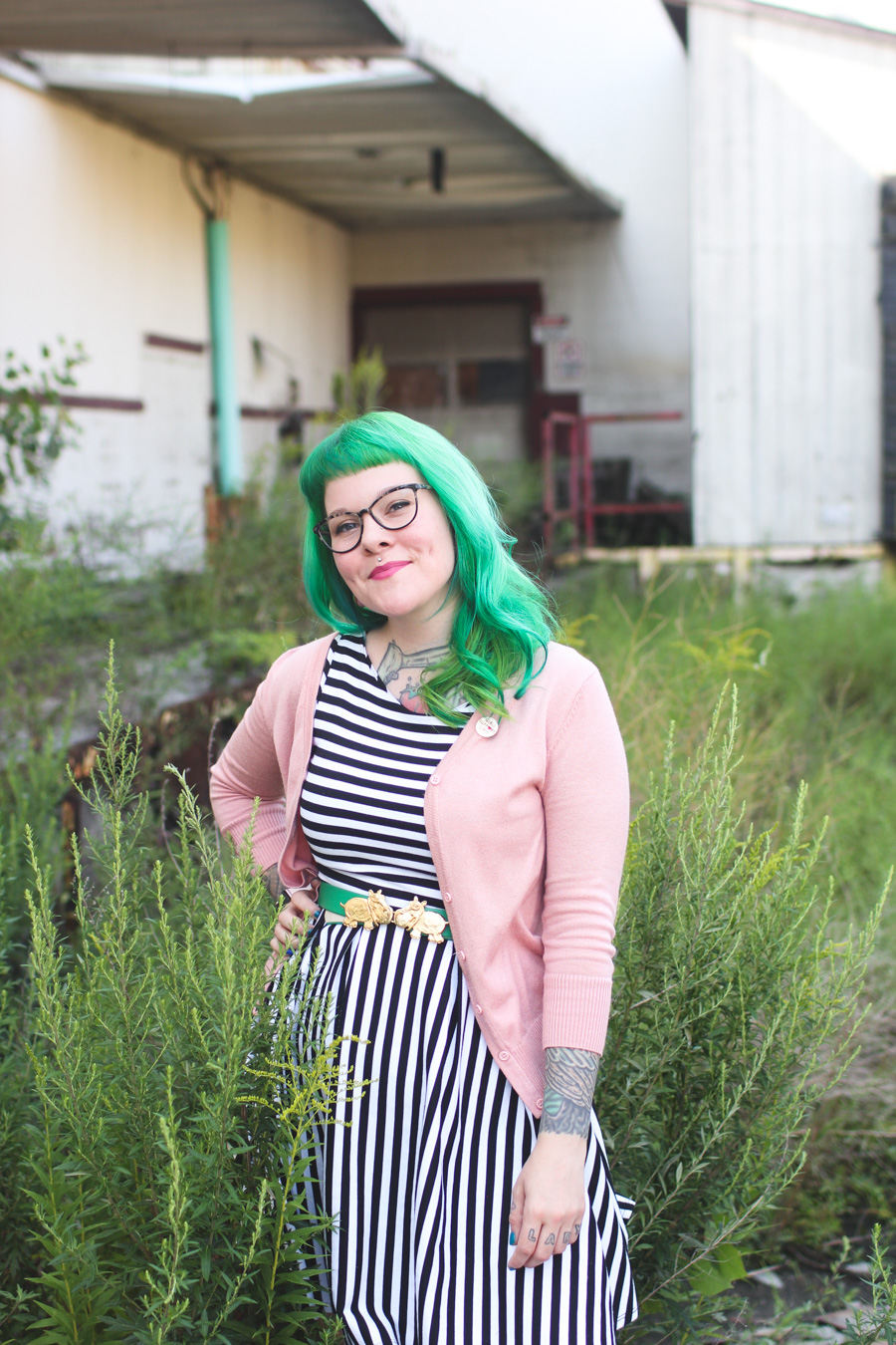 striped dress, black and white, the dainty squid, kaylah doolan, fashion blog, modcloth