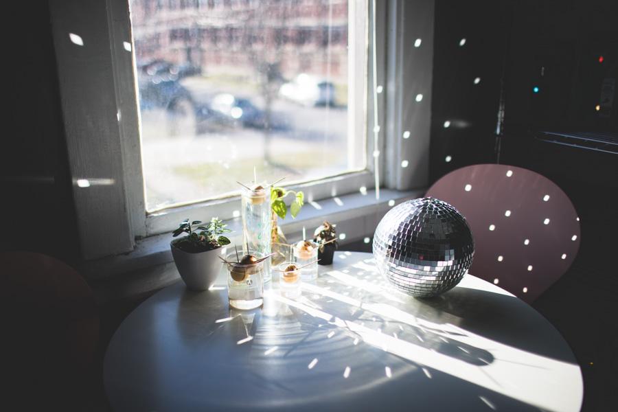 disco ball apartment, mirror ball light