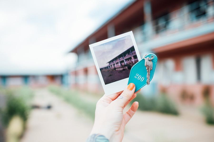 Polaroid OneStep2 & found room key at abandoned motel