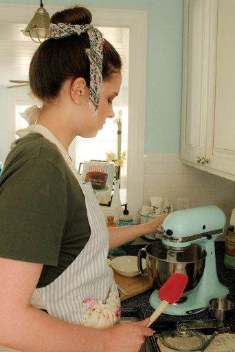 young woman using a mixer