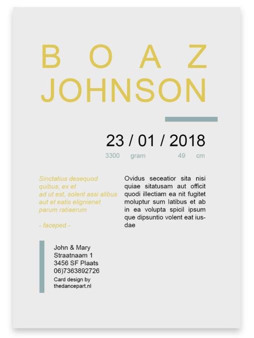 """Geboortekaart """"Zon"""" // Digitale download // Drukklaar // Zon // Unisex // Simpel // Minimalistisch"""