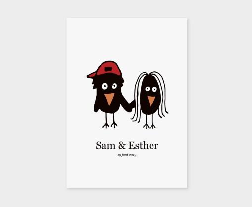 trouwkaart, vogels