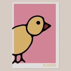 Kuiken | Wall Art Print | Poster | Lijntekening | Design | Kinderkamer | Babykamer | Muurdecoratie | Kunst aan de muur | Kinderen | Roze