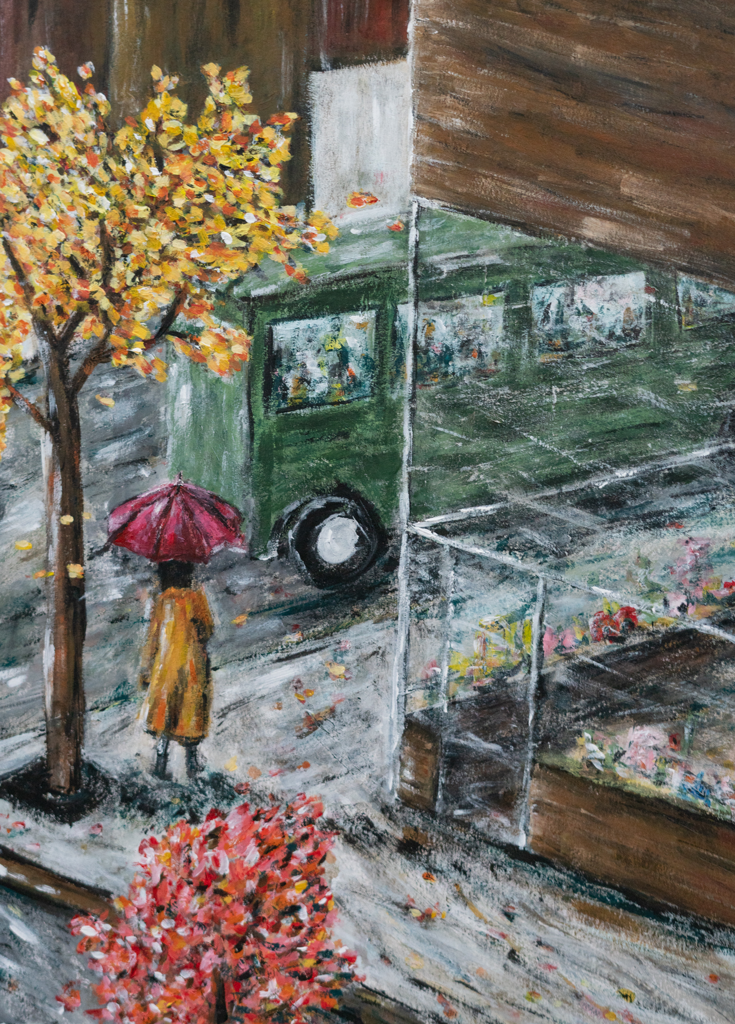 slip into rain green bus innocence mission painting art