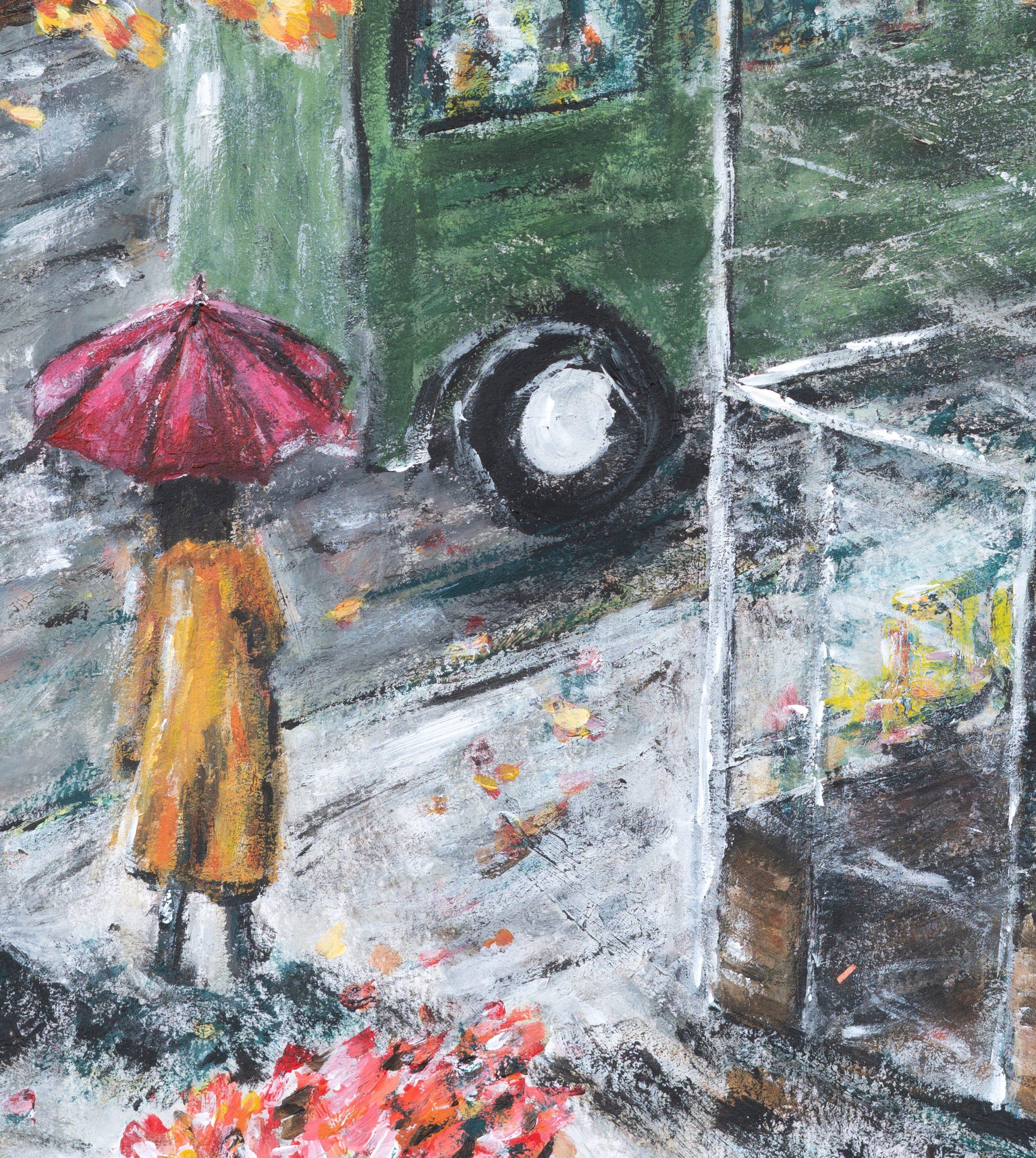 Slip into rain - green bus - innocence mission art painting