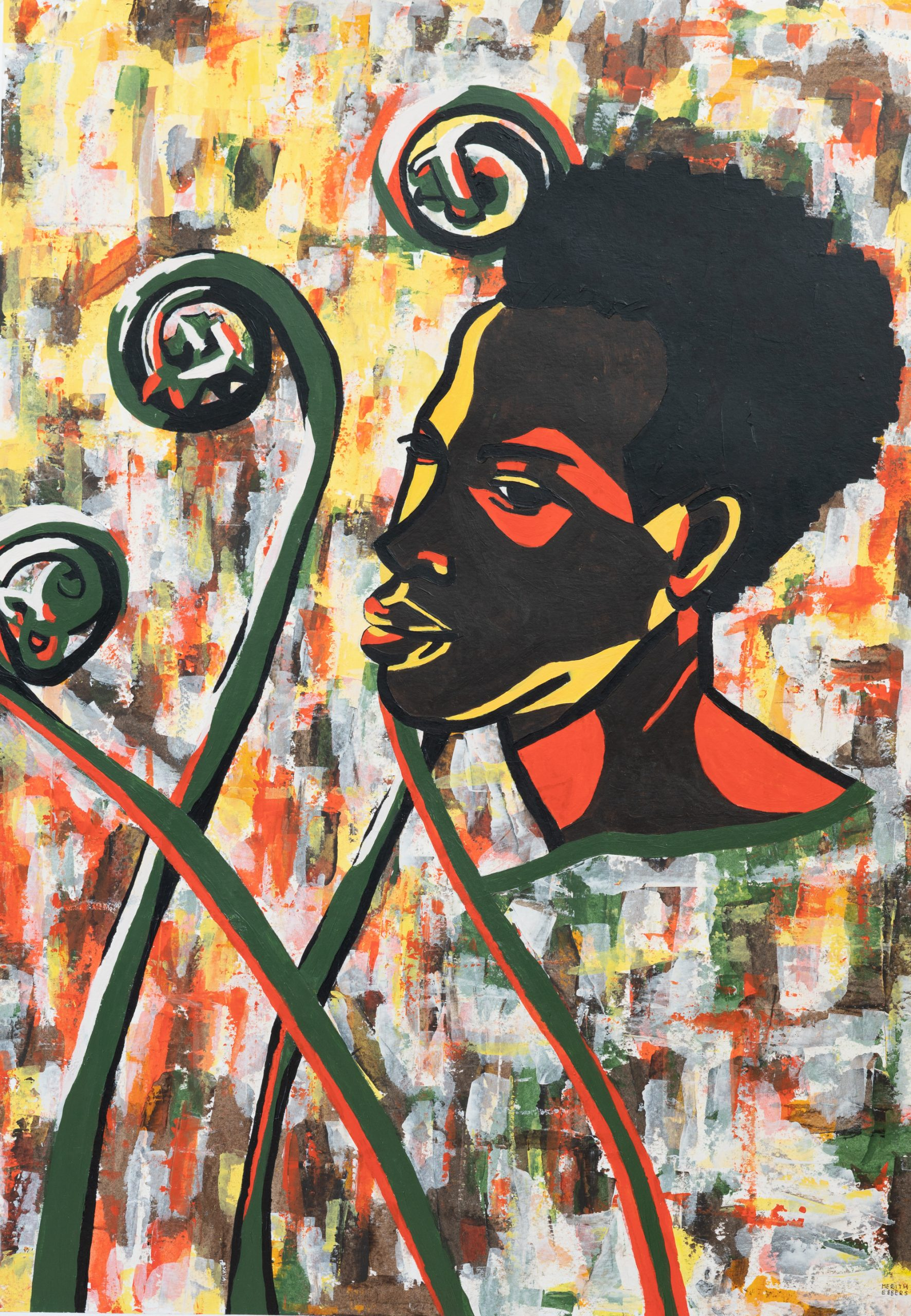 a portrait painting of a dark skinned woman looking back over her shoulder. The colors in this painting are red, brown, green and yellow.