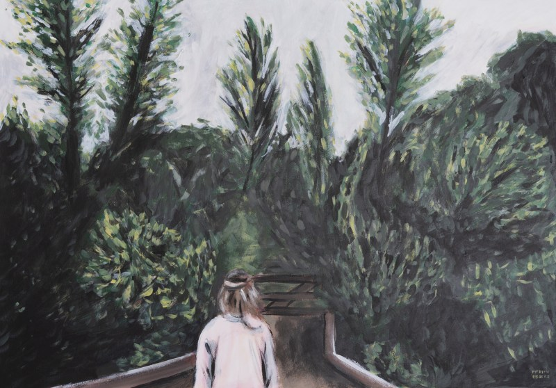 A painting of green, dark trees and bushes swaying in the wind. A Girl with a white vest is walk on a wooden bridge between these trees. The sky above her is white.