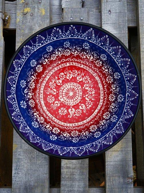 30 cm Handpainted Ceramic Salad Bowl dark blue to red