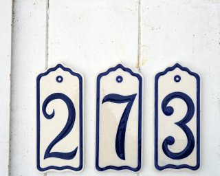 House Number blue and white mixed 2