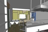 Vista del soggiorno dalla cucina