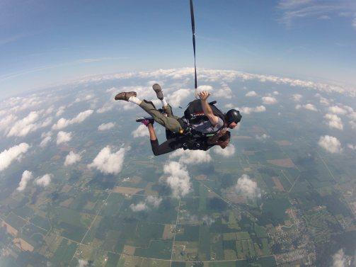 Sheri Hunter in a tandem skydive Dare Diva skydiving
