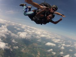 Sheri Hunter in a tandem skydive