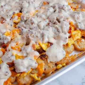 Breakfast Totchos on sheet pan
