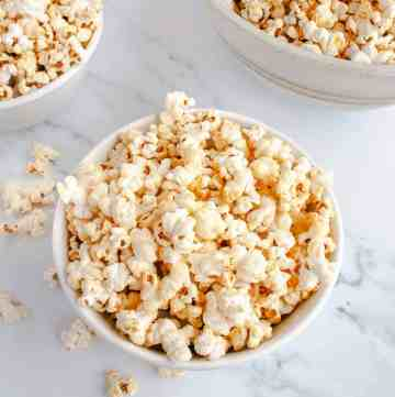 White bowls filled with Homemade Kettle Corn