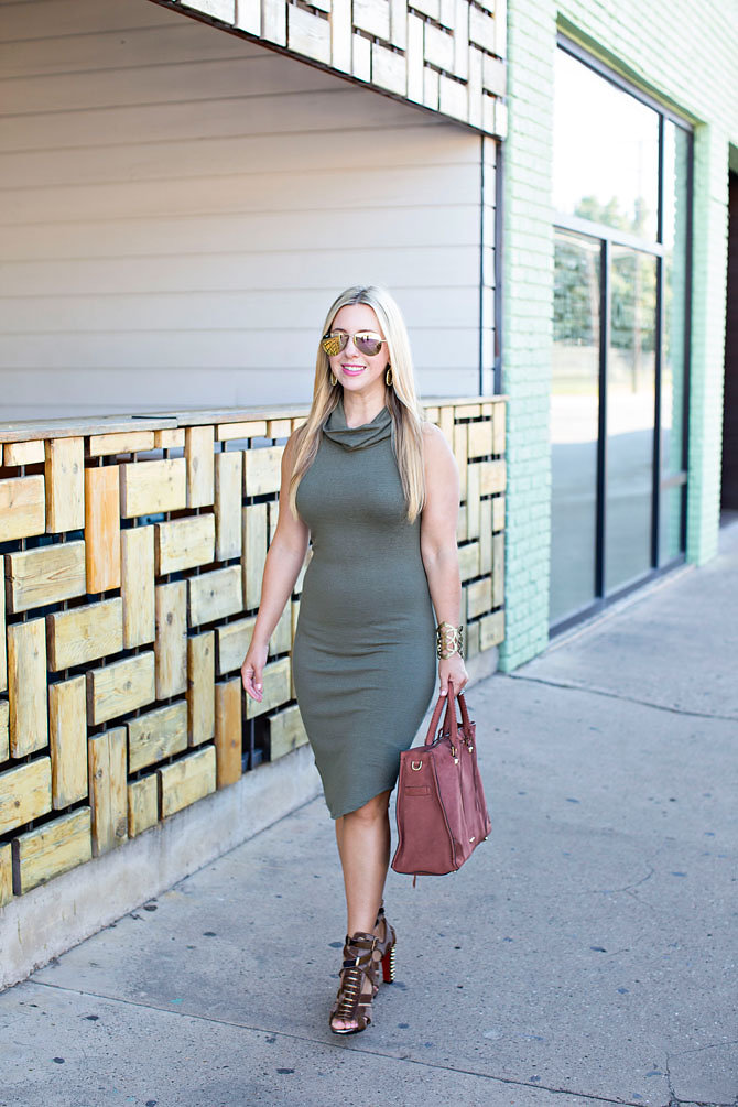 Olive Green Cowl Neck Dress
