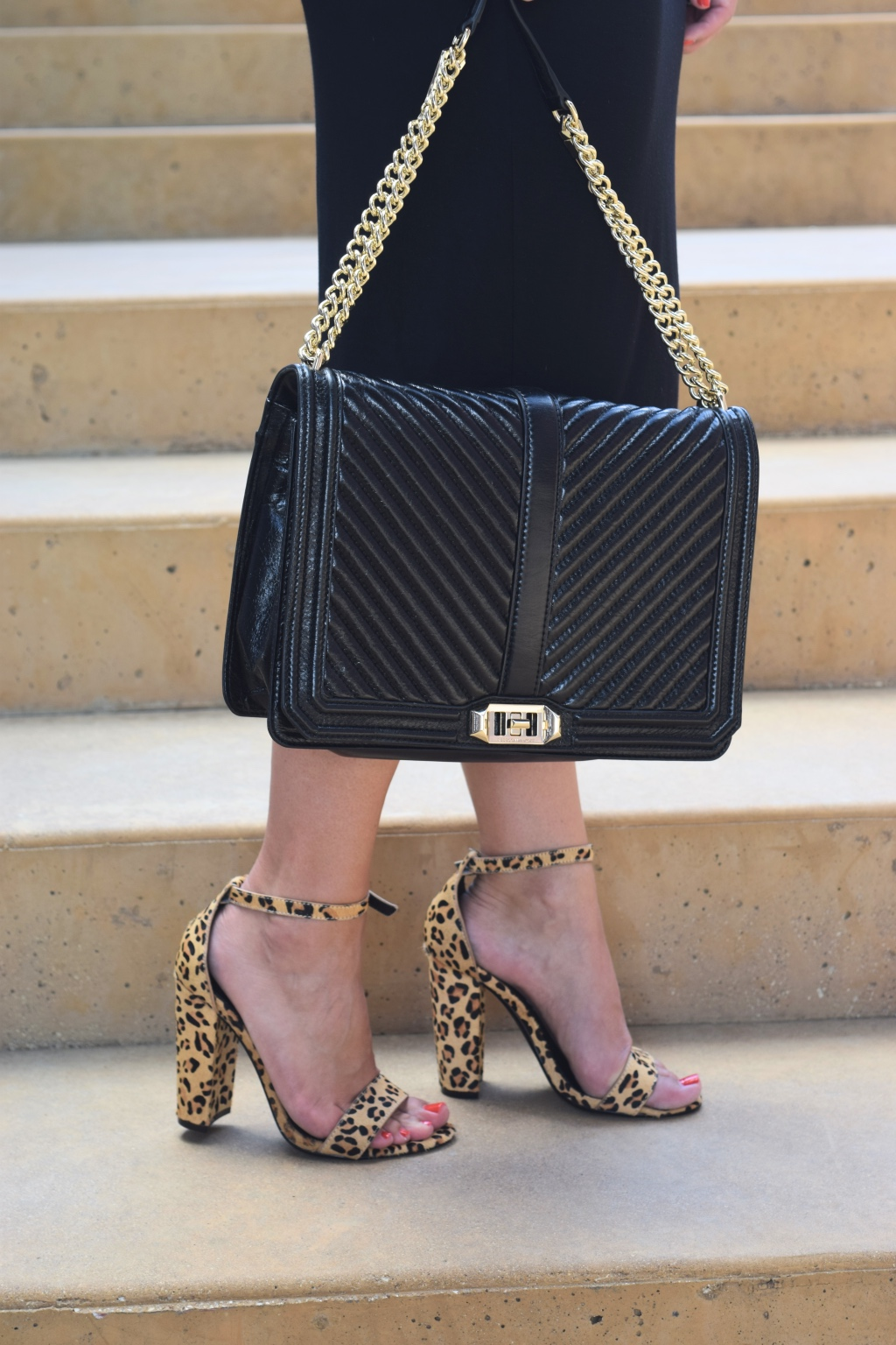 Leopard Heels | Black Bag