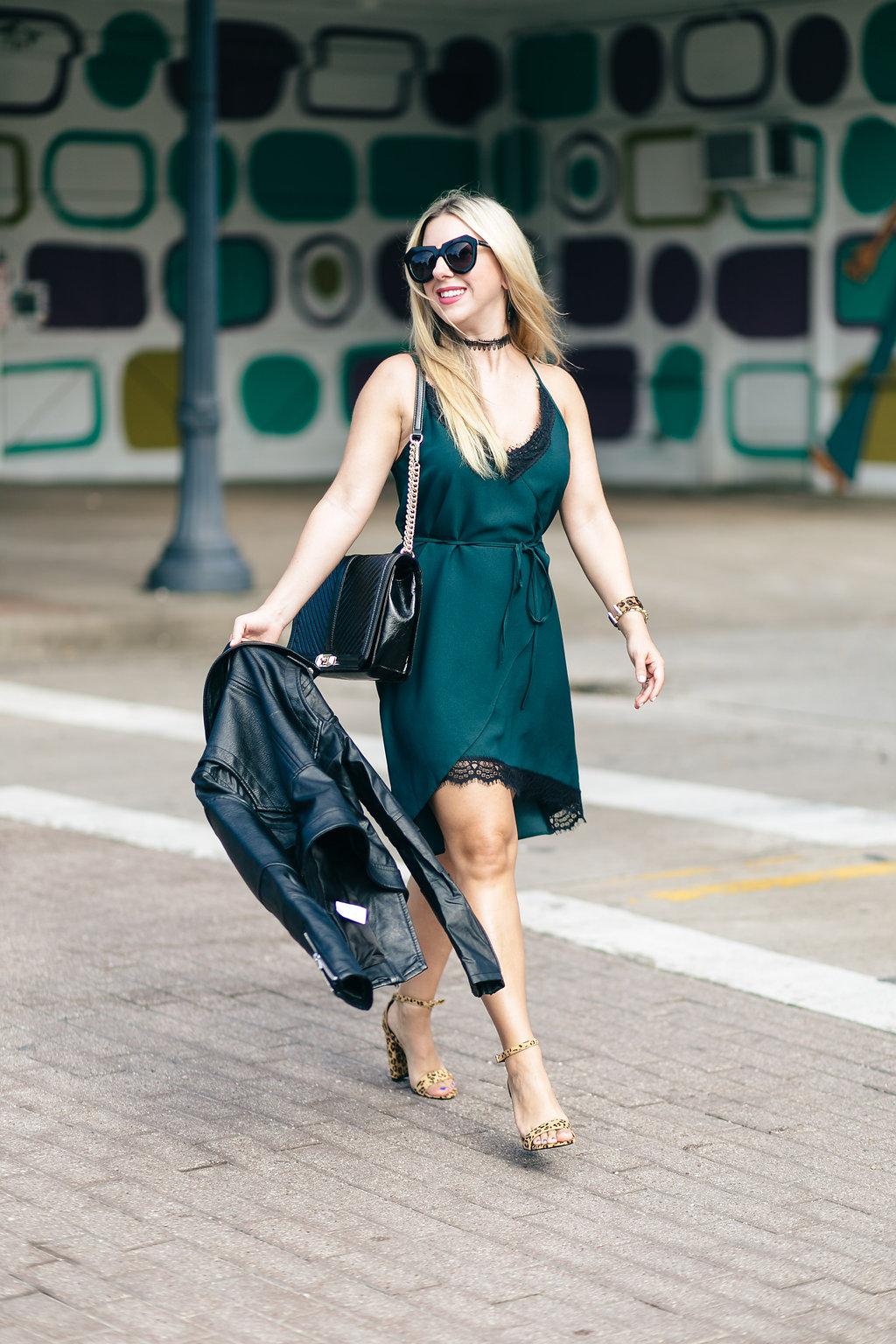 Fashion Blog | Green wrap dress