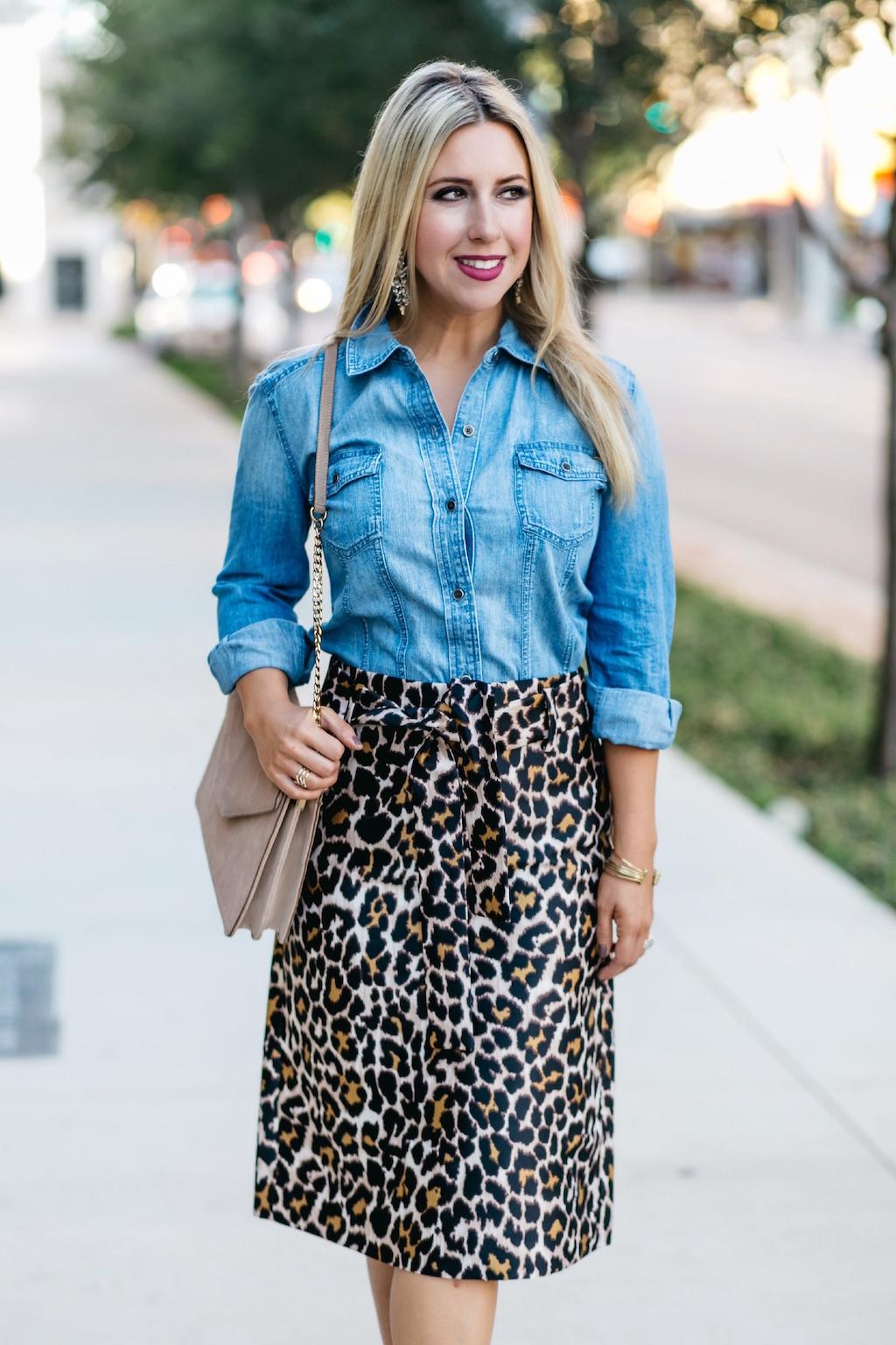 Denim Top| Leopard Skirt