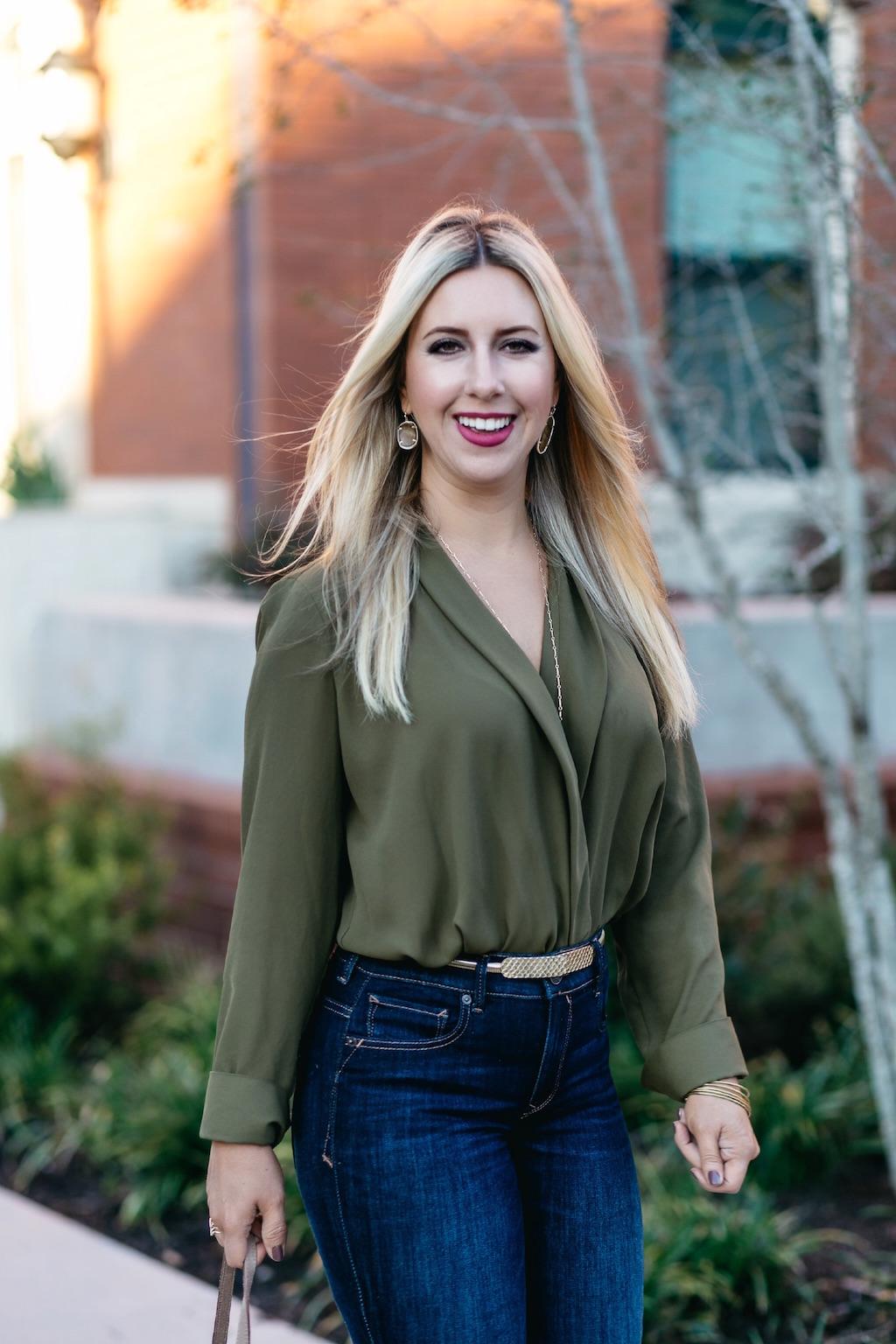 Fashion | Faux Wrap Shirt Bodysuit