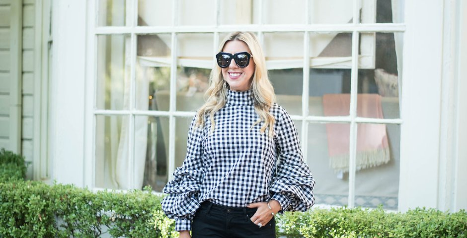 Gingham Print Bell Sleeve Top | The Darling Petite Diva