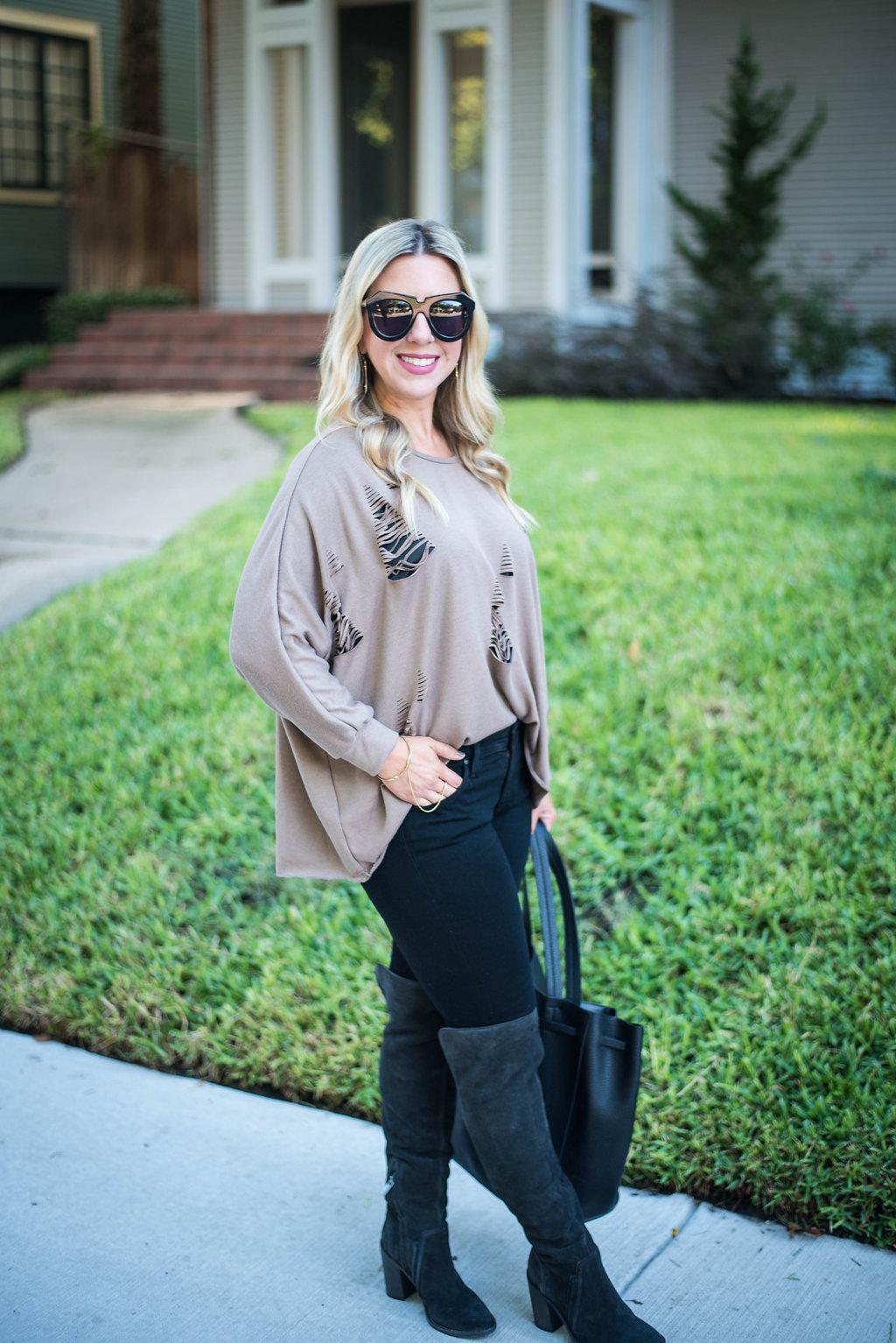 Distressed Sweater | Dallas Blogger