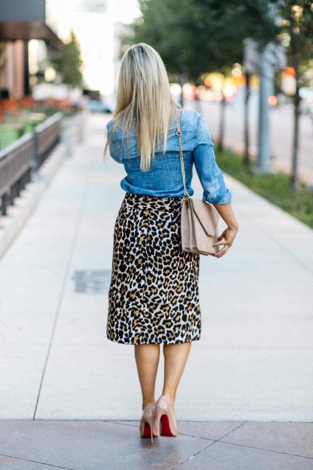Leopard Skirt | Nude Heels